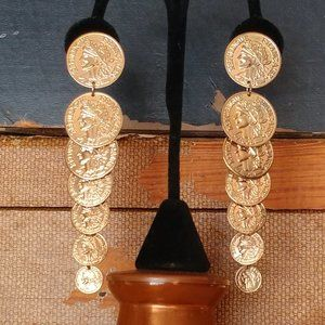 Coin dangle extra long clip on earrings